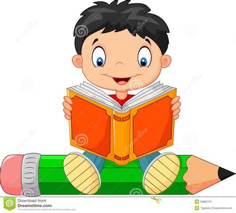 Cartoon Little Boy Reading A Book Stock Vector ...