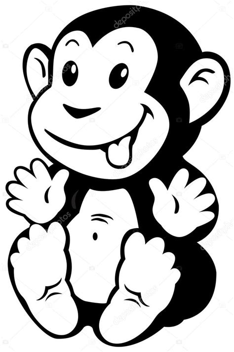 Cartoon monkey black white — Stock Vector  insima #43030803