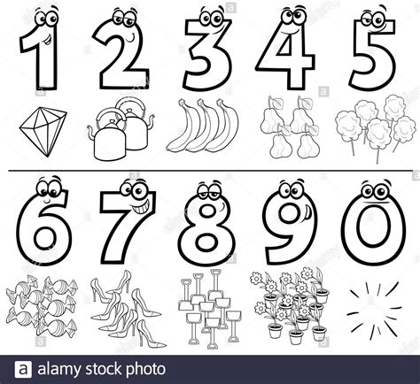 cartoon numbers collection coloring book Stock Photo   Alamy