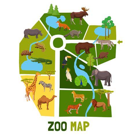 Cartoon Zoo Map With Animals   Download Free Vectors ...