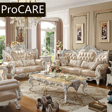 Carved Wood Sofa Leather Sofas French Garden New Classic ...