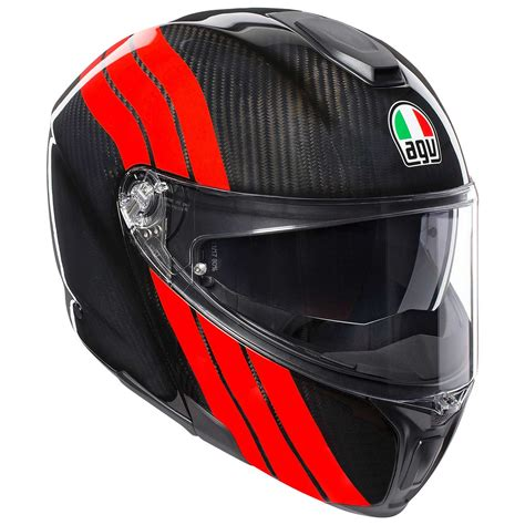 Casco AGV Sportmodular Stripes carbono rojo AG 1201A2IY ...