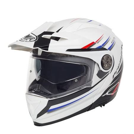 Casco modulare adventure Premier X trail white red blu ...