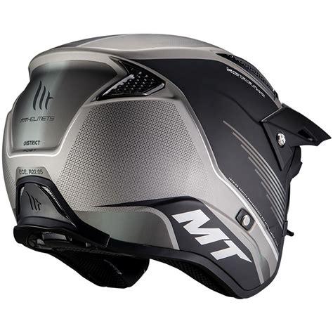 Casco Moto Trial MT Helmets DISTRICT Post B2 Grigio Opaco ...