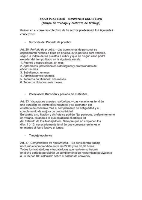 CASO PRACTICO: CONVENIO COLECTIVO