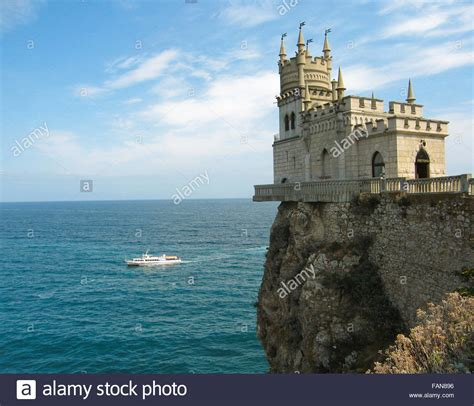 Castle  Swallow s nest  in Crimea on Black sea coast Stock ...