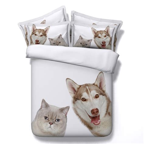 Cat Dog print bedding set Super king size queen full twin ...