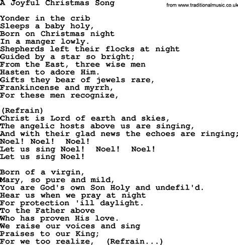 Catholic Hymns, Song: A Joyful Christmas Song   lyrics and PDF