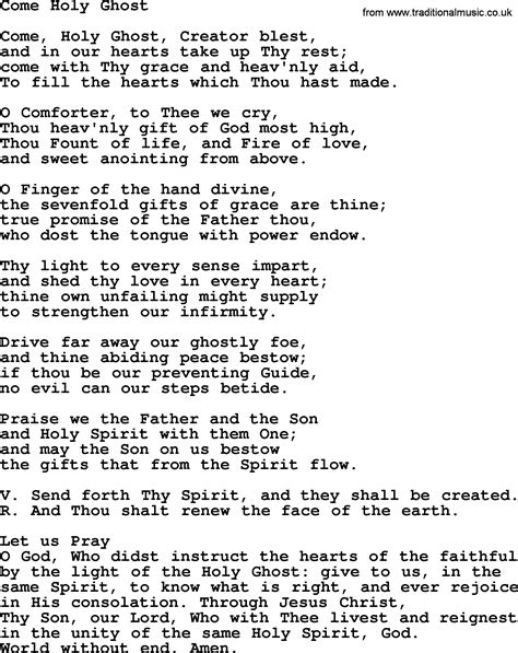 Catholic Hymns, Song: Come Holy Ghost   lyrics and PDF