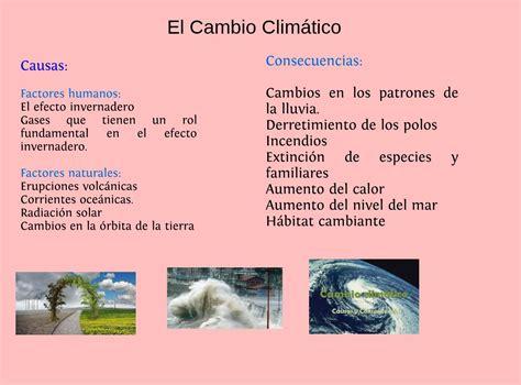 Causas y consecuencias del cambio climático : text, images ...