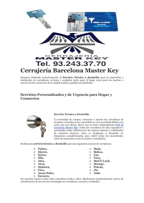 Cerrajeria barcelona master key