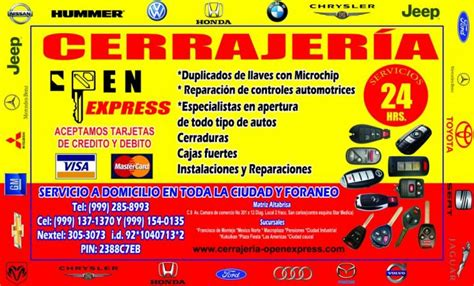 Cerrajeria open express en Merida. Teléfono y más info.