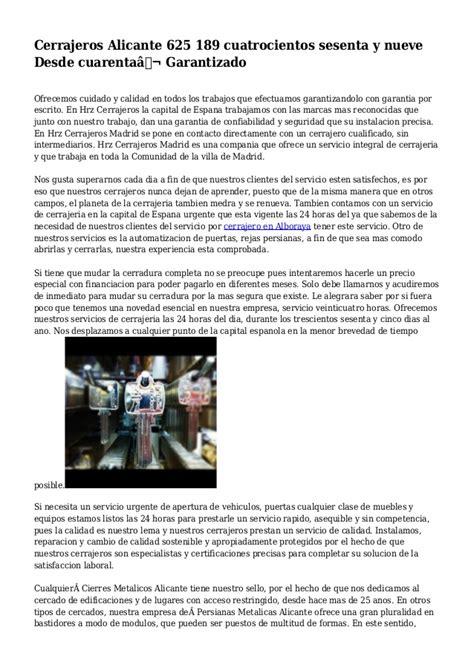 Cerrajeros Alicante 625 189 cuatrocientos sesenta y nueve ...