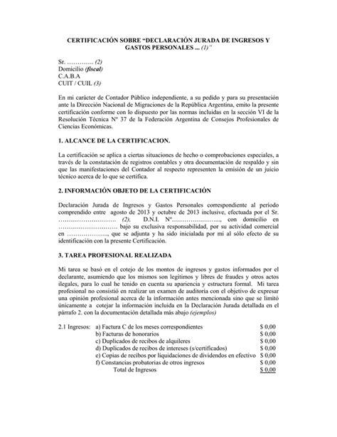 """CERTIFICACIÓN SOBRE """"DECLARACIÓN JURADA DE INGRESOS"""