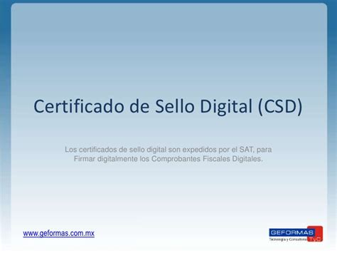 Certificado de sellos digital