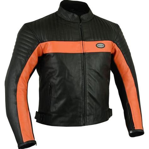 Chaqueta de cuero Goyamoto GM 175 color negro y naranja en ...