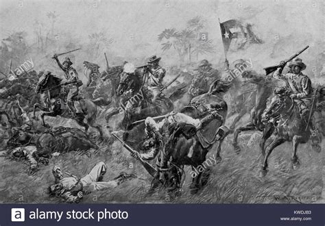 Charge of Cuban insurgents against Spanish in the Cuban ...