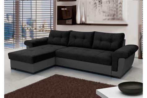 Cheap Black & Grey Corner Sofa Bed Amber   SofaFox