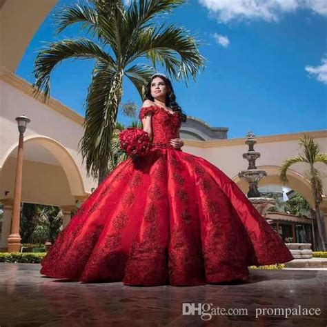 Cheap Red Satin Quinceanera Dresses For Girls Ball Gown ...