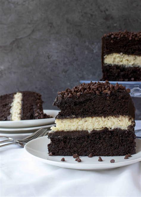 Cheesecake Stuffed Dark Chocolate Cake   Sugar Spun Run
