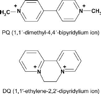 Chemical structures of paraquat  PQ  and diquat  DQ ...