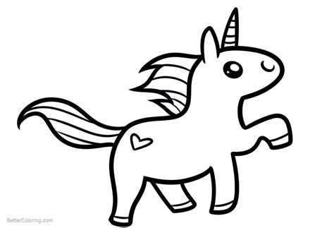 Chibi Unicorn Coloring Pages Easy Clipart   Free Printable ...