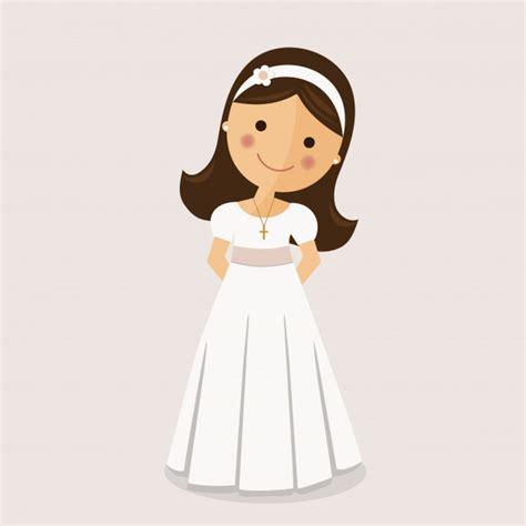 Chica con vestido de comunión sobre fondo ocre   Vector ...