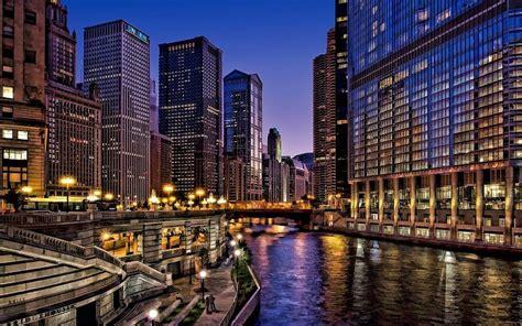 Chicago Estados Unidos Noche de la ciudad fondos de ...