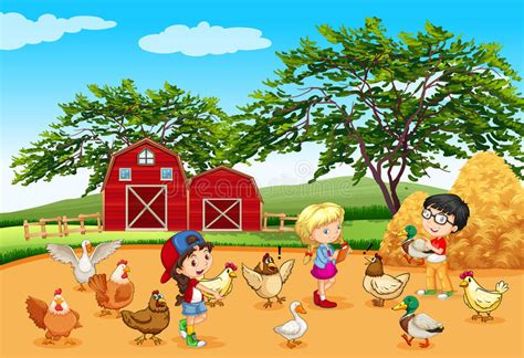 Children Feeding Animals In The Farm Stock Vector ...