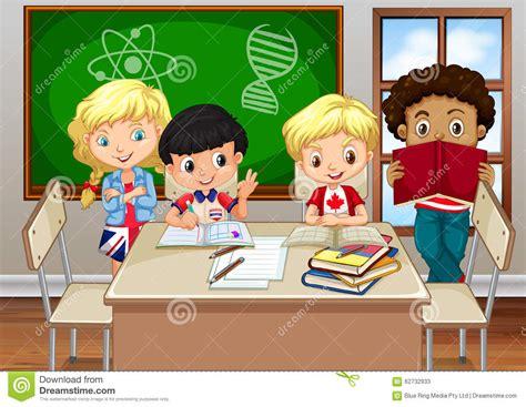 Children Studying In The Classroom Cartoon Vector ...