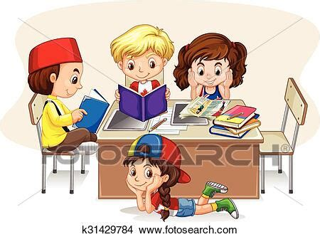 Children studying in the classroom Clipart | k31429784 ...