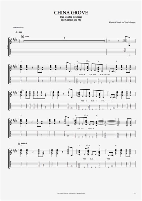 China Grove by The Doobie Brothers   Full Score Guitar Pro ...
