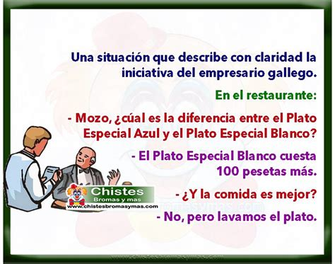 Chistes buenos de gallegos   Gallego en restaurante.