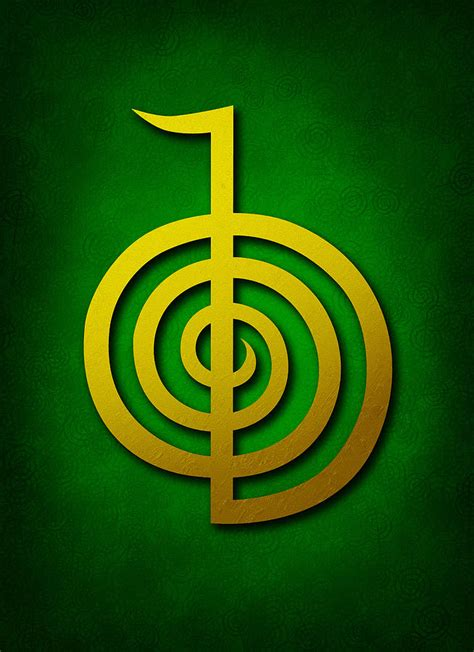 Cho Ku Rei   Golden Yellow On Green Reiki Usui Symbol ...