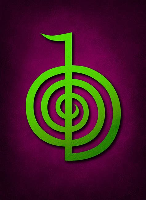 Cho Ku Rei   Lime Green On Purple Reiki Usui Symbol ...