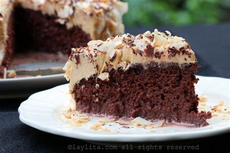 Chocolate tres leches cake with dulce de leche frosting ...