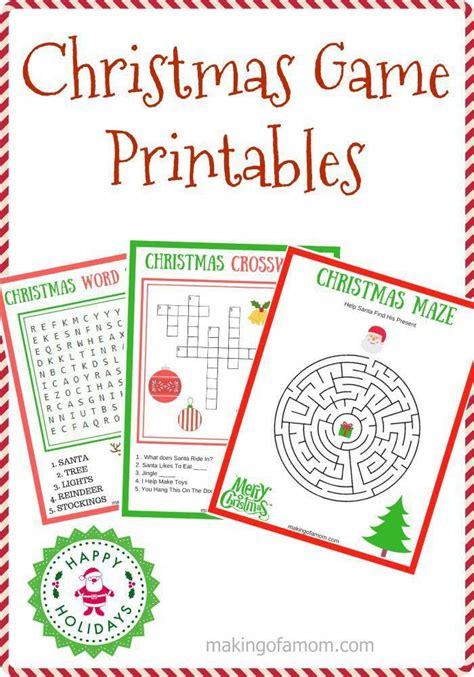 Christmas Game Printables including a maze, crossword ...