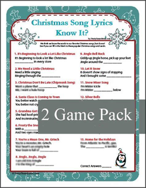 Christmas Song Lyrics   Know It? Game, Christmas Carol Game