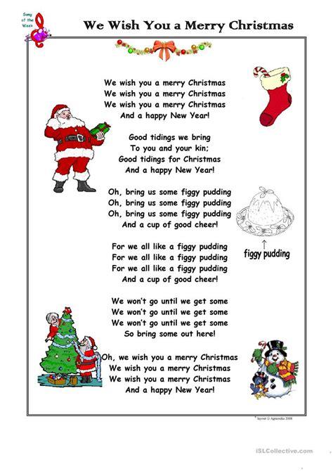 Christmas Song We Wish You a Merry Christmas   English ESL ...