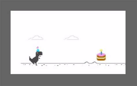 Chrome T Rex offline game parties with birthday hat, cake ...