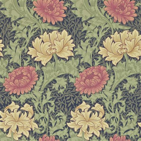 Chrysanthemum Wallpaper   Indigo  212549    William Morris ...