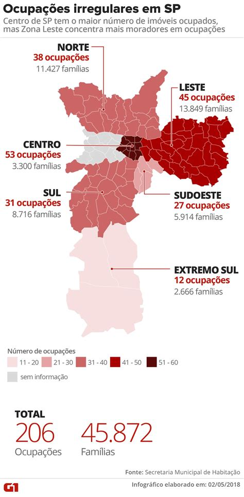 Cidade de São Paulo tem 206 ocupações onde moram 45 mil ...