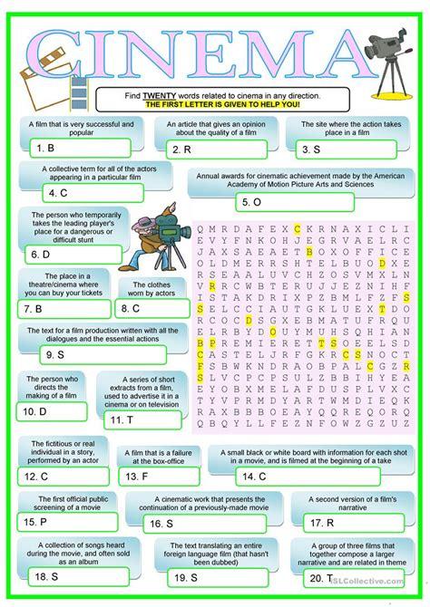 CINEMA   English ESL Worksheets