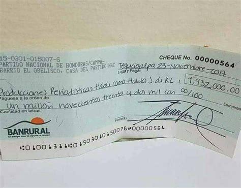 Circula cheque del Partido Nacional hacia HCH por casi 2 ...