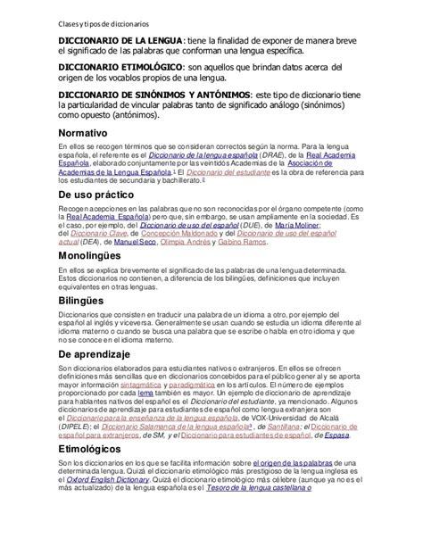 Clases y tipos de diccionarios