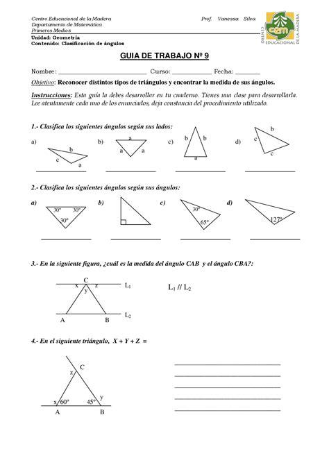 Clasificacion de angulos   Geometria   Ejercicios   Grado ...