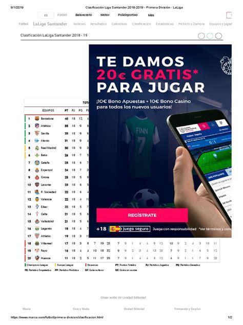 Clasificación Liga Santander 2018 2019   Primera División ...