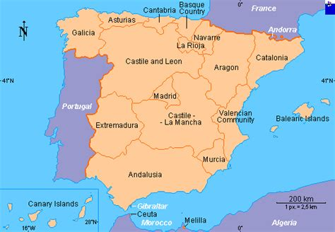 Clickable map of Spain