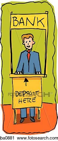 Clipart of bank teller jba0881   Search Clip Art ...