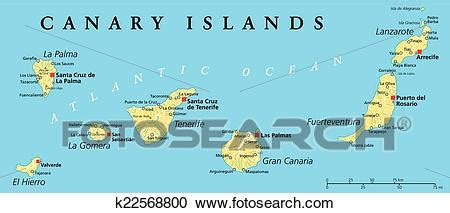 Clipart of Canary Islands Political Map k22568800   Search ...